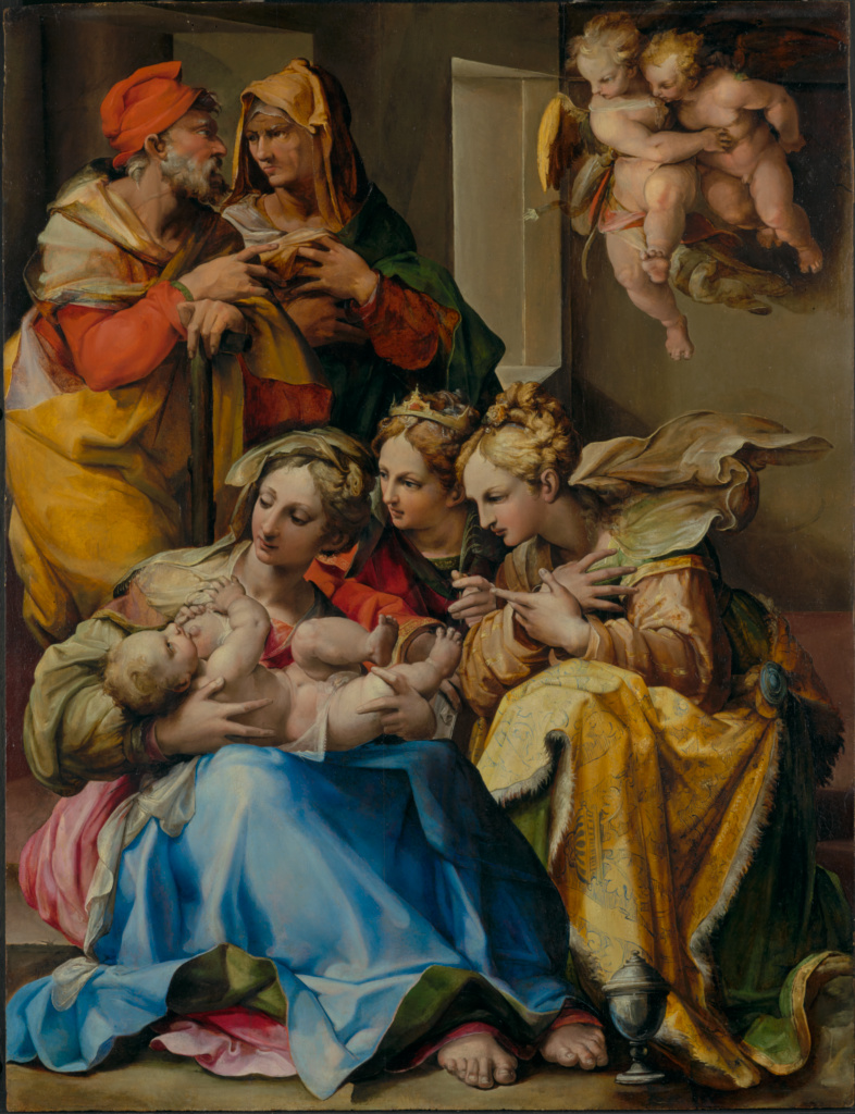 Holy Family with Saints Anne, Catherine of Alexandria, and Mary Magdalene; Nosadella (Italian (Bolognese), active about 1550 - 1571); about 1560s; Oil on panel; 101.3 × 77.2 cm (39 7/8 × 30 3/8 in.); 85.PB.310; Rights Statement: No Copyright - United States