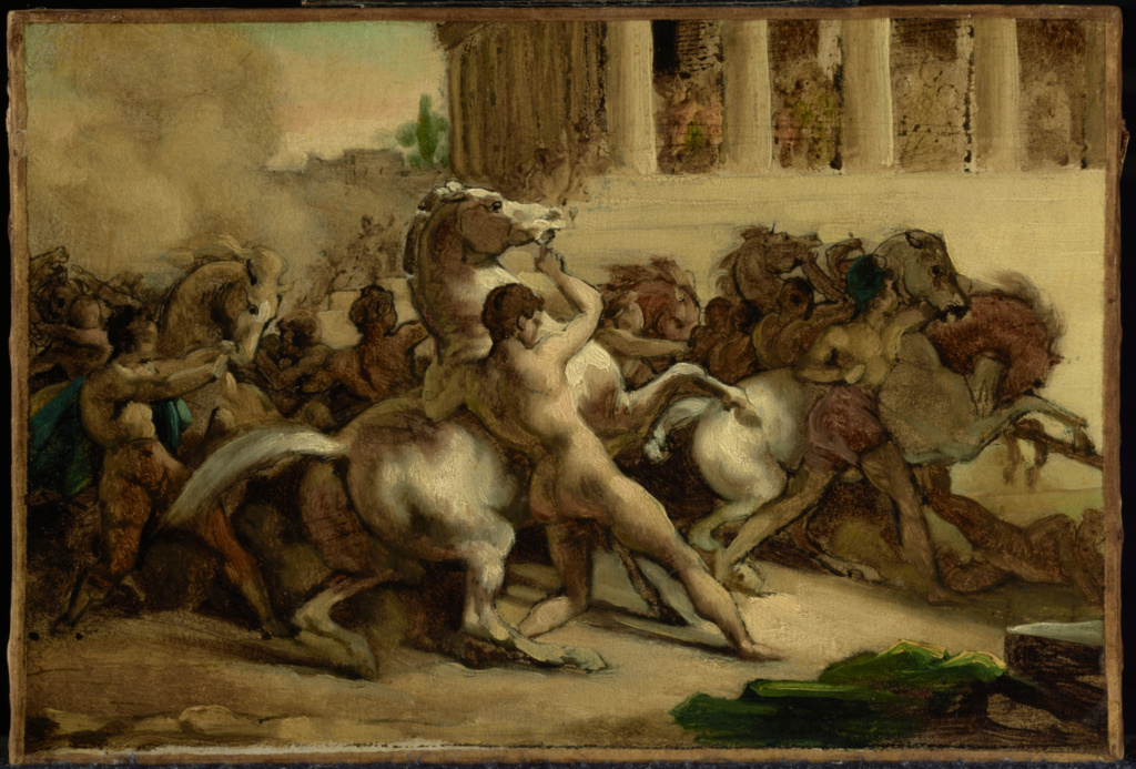 The Race of the Riderless Horses; Théodore Géricault (French, 1791 - 1824); 1817; Oil and pen and ink on paper laid on canvas; 19.8 × 29.1 cm (7 13/16 × 11 7/16 in.); 85.PC.406; The J. Paul Getty Museum, Los Angeles; Rights Statement: No Copyright - United States