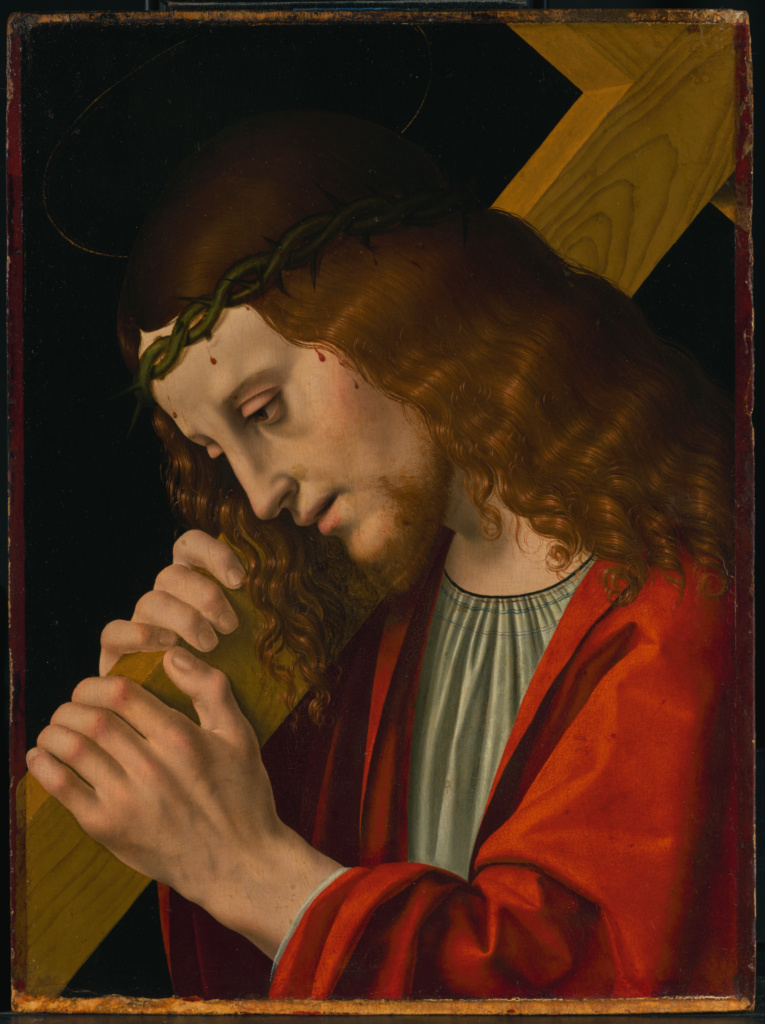 Christ Carrying the Cross; Attributed to Marco d' Oggiono (Italian, about 1467 - 1524); about 1495–1500; Oil on panel; 36.8 × 27.3 cm (14 1/2 × 10 3/4 in.); 85.PB.412; The J. Paul Getty Museum, Los Angeles; Rights Statement: No Copyright - United States