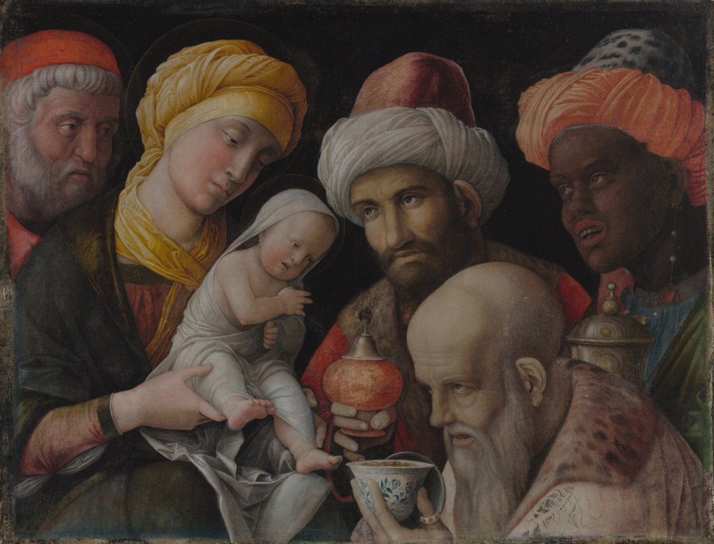 Adoration of the Magi; Andrea Mantegna (Italian, about 1431 - 1506); about 1495–1505; Distemper on linen; 48.6 × 65.6 cm (19 1/8 × 25 13/16 in.); 85.PA.417; Rights Statement: No Copyright - United States