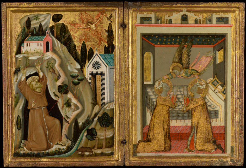 The Stigmatization of Saint Francis, and Angel Crowning Saints Cecilia and Valerian; Unknown Italian, Neapolitan or Avignon School; Avignon, France; 1330s; Tempera and gold leaf on panel; Panel: 31.3 × 45.7 × 1.9 cm (12 5/16 × 18 × 3/4 in.); 86.PB.490; The J. Paul Getty Museum, Los Angeles; Rights Statement: No Copyright - United States