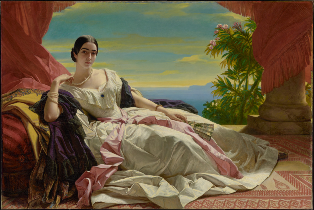 Portrait of Leonilla, Princess of Sayn-Wittgenstein-Sayn; Franz Xaver Winterhalter (German, 1805 - 1873); 1843; Oil on canvas; 142.2 × 212.1 cm (56 × 83 1/2 in.); 86.PA.534; Rights Statement: No Copyright - United States