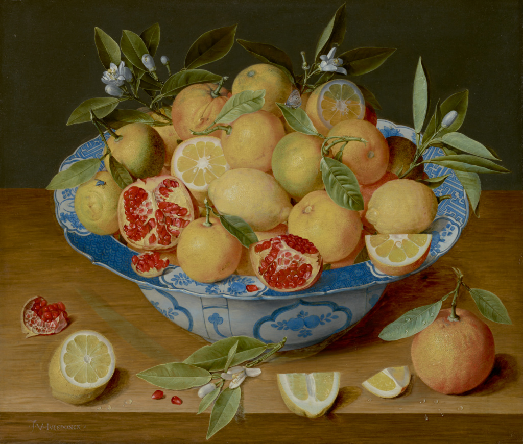 Still Life with Lemons, Oranges, and a Pomegranate; Jacob van Hulsdonck (Flemish, 1582 - 1647); about 1620–1640; Oil on panel; 41.9 × 49.5 cm (16 1/2 × 19 1/2 in.); 86.PB.538; Rights Statement: No Copyright - United States