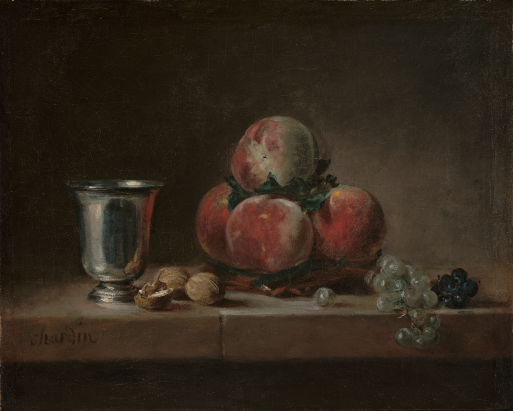 Still Life with Peaches, a Silver Goblet, Grapes, and Walnuts; Jean-Siméon Chardin (French, 1699 - 1779); about 1759 - 1760; Oil on canvas; 38.1 × 46.7 cm (15 × 18 3/8 in.); 86.PA.544; Rights Statement: No Copyright - United States
