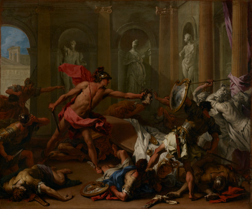 Perseus Confronting Phineus with the Head of Medusa; Sebastiano Ricci (Italian, 1659 - 1734); about 1705–1710; Oil on canvas; 64.1 × 77.2 cm (25 1/4 × 30 3/8 in.); 86.PA.591; Rights Statement: No Copyright - United States