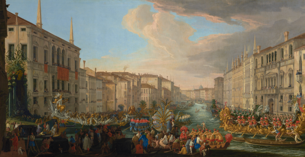 Regatta on the Grand Canal in Honor of Frederick IV, King of Denmark; Luca Carlevarijs (Italian, 1663 - 1730); 1711; Oil on canvas; 135.3 × 259.7 cm (53 1/4 × 102 1/4 in.); 86.PA.599; Rights Statement: No Copyright - United States