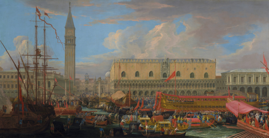 The Bucintoro Departing from the Bacino di San Marco; Luca Carlevarijs (Italian, 1663 - 1730); 1710; Oil on canvas; 134.8 × 259.4 cm (53 1/16 × 102 1/8 in.); 86.PA.600; Rights Statement: No Copyright - United States