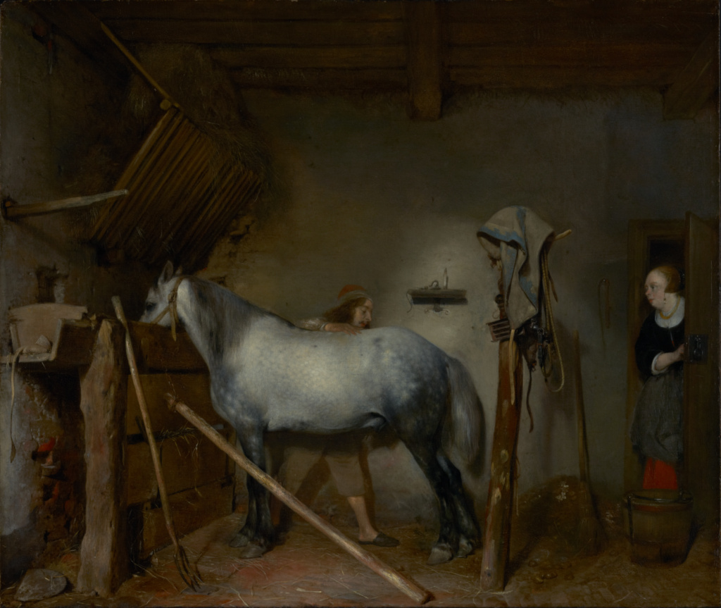 Horse Stable; Gerard ter Borch (Dutch, 1617 - 1681); about 1654; Oil on panel; 45.4 × 53.5 cm (17 7/8 × 21 1/16 in.); 86.PB.631; The J. Paul Getty Museum, Los Angeles; Rights Statement: No Copyright - United States