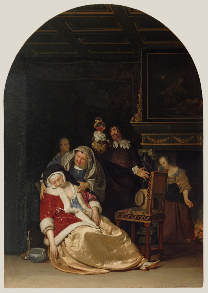 The Doctor's Visit; Frans van Mieris the Elder (Dutch, 1635 - 1681); Netherlands; 1667; Oil on panel; 44.5 × 31.1 cm (17 1/2 × 12 1/4 in.); 86.PB.634; The J. Paul Getty Museum, Los Angeles; Rights Statement: No Copyright - United States