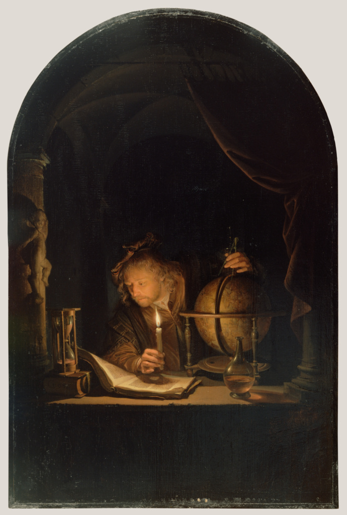 Astronomer by Candlelight; Gerrit Dou (Dutch, 1613 - 1675); late 1650s; Oil on panel; 32 × 21.2 cm (12 5/8 × 8 3/8 in.); 86.PB.732; Rights Statement: No Copyright - United States