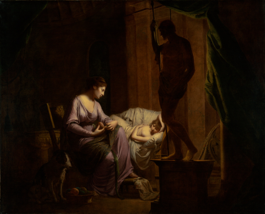 Penelope Unraveling Her Web; Joseph Wright of Derby (English, 1734 - 1797); 1783–1784; Oil on canvas; 106 × 131.4 cm (41 3/4 × 51 3/4 in.); 87.PA.49; The J. Paul Getty Museum, Los Angeles; Rights Statement: No Copyright - United States