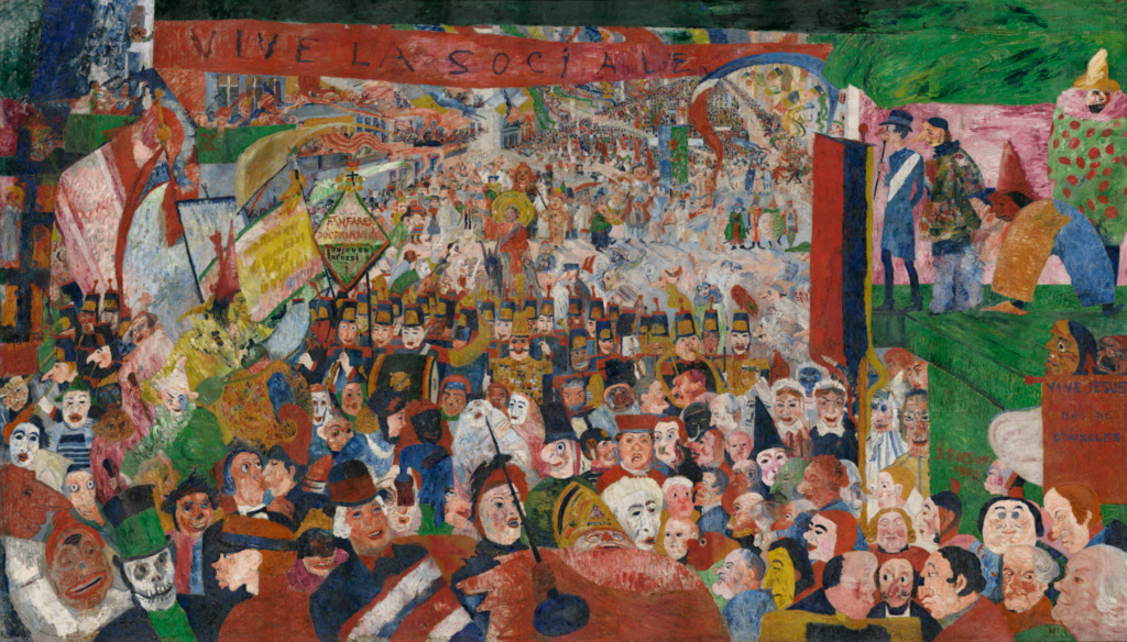 Christ's Entry into Brussels in 1889; James Ensor (Belgian, 1860 - 1949); 1888; Oil on canvas; 252.7 × 430.5 cm (99 1/2 × 169 1/2 in.); 87.PA.96; Rights Statement: No Copyright - United States