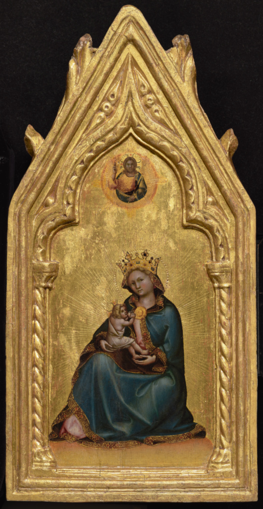 Madonna of Humility; Guariento di Arpo (Italian, active 1338 - 1367/1370); Italy; about 1345–1350; Tempera and gold leaf on panel; Panel: 50.2 × 25.4 × 3.5 cm (19 3/4 × 10 × 1 3/8 in.); 87.PB.118; The J. Paul Getty Museum, Los Angeles; Rights Statement: No Copyright - United States