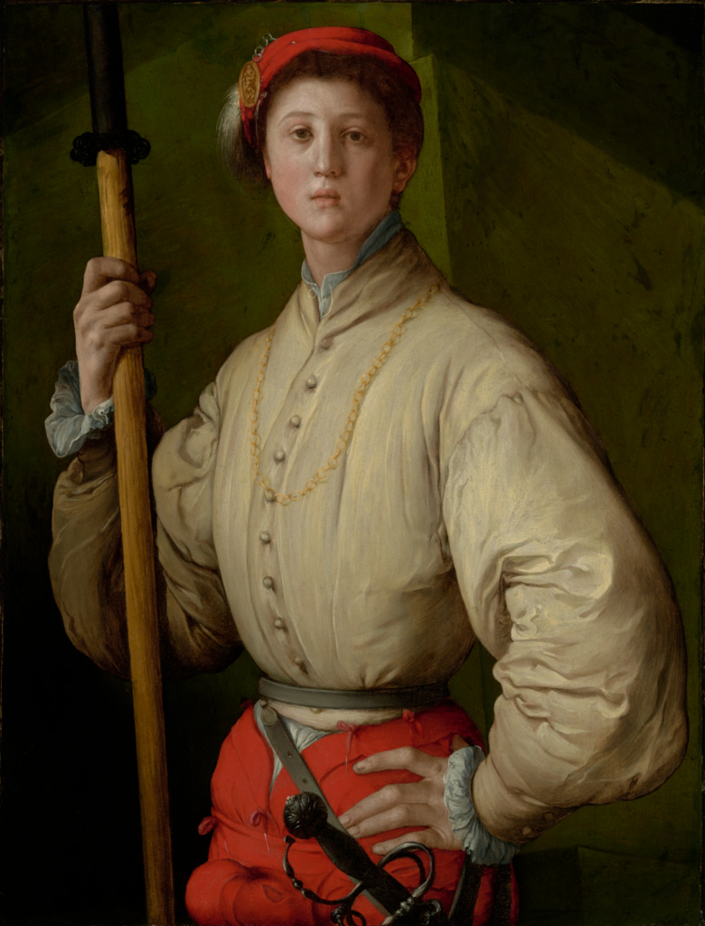 Portrait of a Halberdier (Francesco Guardi?); Pontormo (Jacopo Carucci) (Italian (Florentine), 1494 - 1557); 1529–1530; Oil (or oil and tempera) on panel transferred to canvas; 95.3 × 73 cm (37 1/2 × 28 3/4 in.); 89.PA.49; Rights Statement: No Copyright - United States