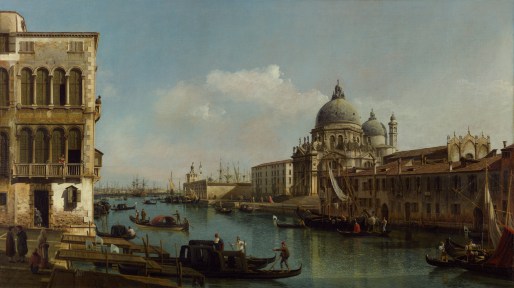 View of the Grand Canal: Santa Maria della Salute and the Dogana from Campo Santa Maria Zobenigo; Bernardo Bellotto (Italian, 1722 - 1780); Italy; about 1743; Oil on canvas; 139.1 × 236.9 cm (54 3/4 × 93 1/4 in.); 91.PA.73; The J. Paul Getty Museum, Los Angeles; Rights Statement: No Copyright - United States