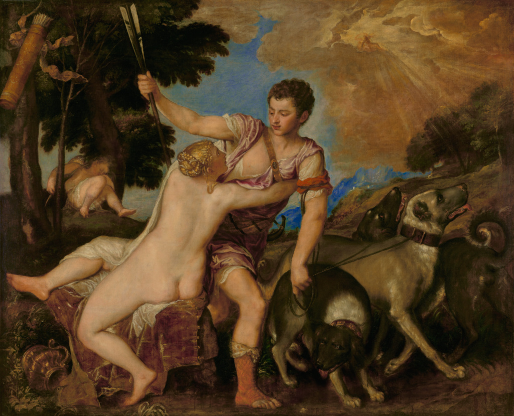Venus and Adonis; Titian (Tiziano Vecellio) (Italian, about 1487 - 1576); about 1555–1560; Oil on canvas; 161.9 × 198.4 cm (63 3/4 × 78 1/8 in.); 92.PA.42; The J. Paul Getty Museum, Los Angeles; Rights Statement: No Copyright - United States