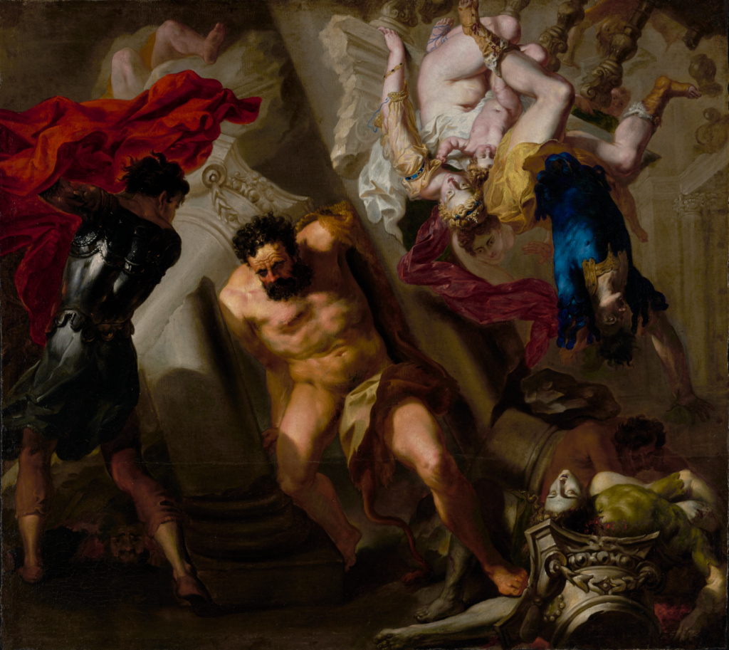 The Death of Samson; Unknown maker, Italian, probably Genoese School; about 1650; Oil on canvas (unlined); 102.9 × 115.6 cm (40 1/2 × 45 1/2 in.); 92.PA.110; The J. Paul Getty Museum, Los Angeles; Rights Statement: No Copyright - United States