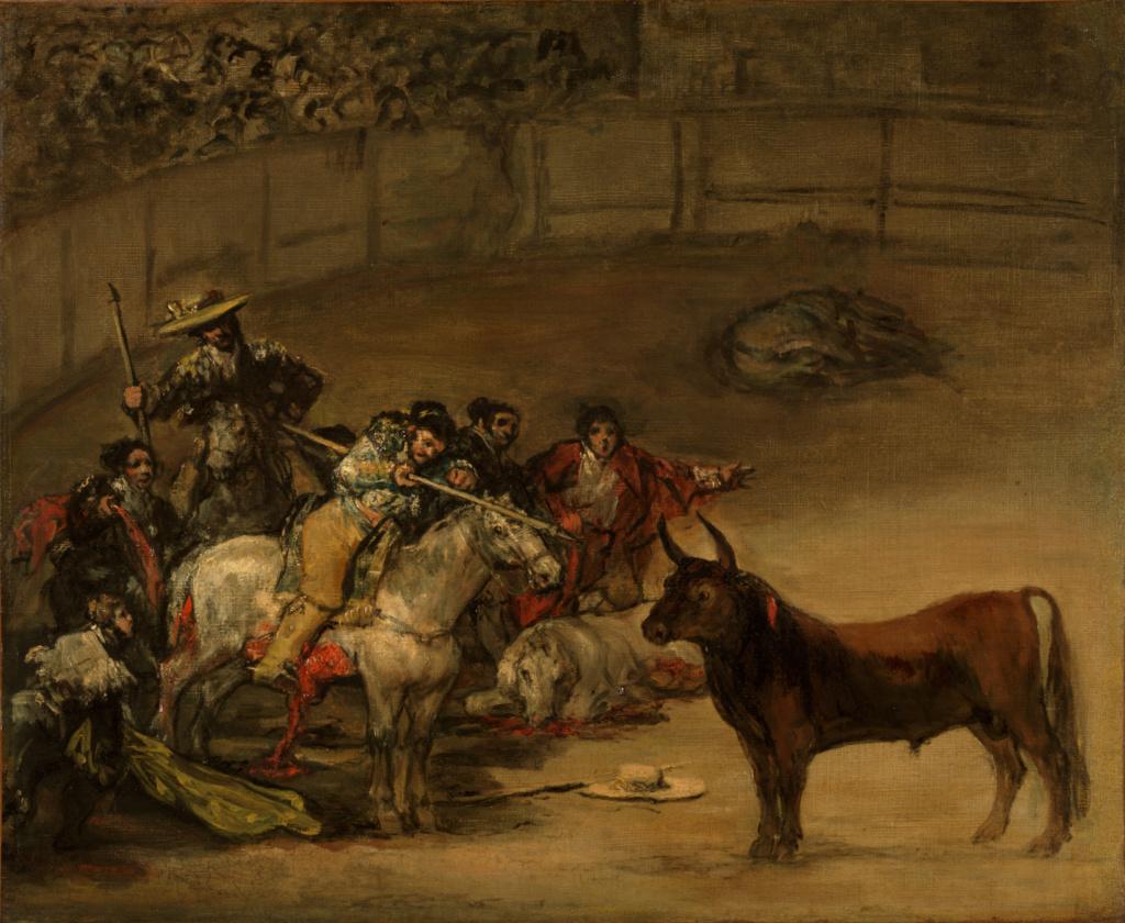 Bullfight, Suerte de Varas; Francisco José de Goya y Lucientes (Francisco de Goya) (Spanish, 1746 - 1828); 1824; Oil on canvas; 49.8 × 70.8 cm (19 5/8 × 27 7/8 in.); 93.PA.1; Rights Statement: No Copyright - United States