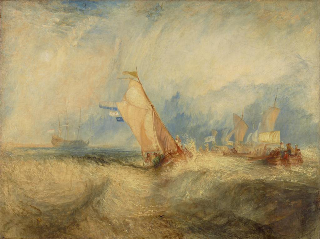 Van Tromp, going about to please his Masters, Ships a Sea, getting a Good Wetting; Joseph Mallord William Turner (British, 1775 - 1851); 1844; Oil on canvas; 92.4 × 123.2 cm (36 3/8 × 48 1/2 in.); 93.PA.32; The J. Paul Getty Museum, Los Angeles; Rights Statement: No Copyright - United States