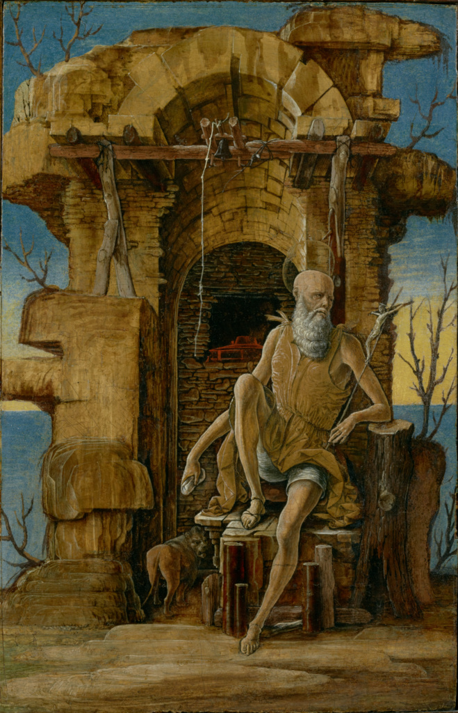 Saint Jerome in the Wilderness; Ercole de'Roberti (Italian, about 1456 - 1496); about 1475; Tempera on panel; 34 × 21.9 cm (13 3/8 × 8 5/8 in.); 96.PB.14; The J. Paul Getty Museum, Los Angeles; Rights Statement: No Copyright - United States