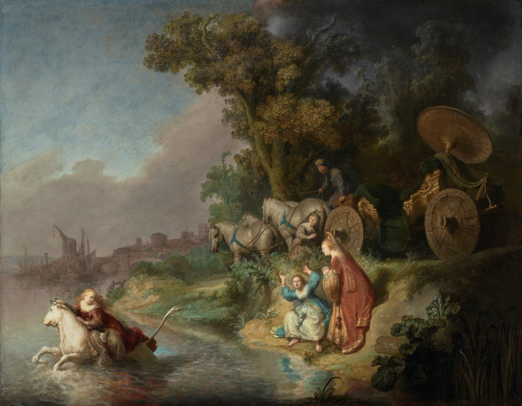 The Abduction of Europa; Rembrandt Harmensz. van Rijn (Dutch, 1606 - 1669); 1632; Oil on single oak panel; 64.6 × 78.7 cm (25 7/16 × 31 in.); 95.PB.7; The J. Paul Getty Museum, Los Angeles; Rights Statement: No Copyright - United States