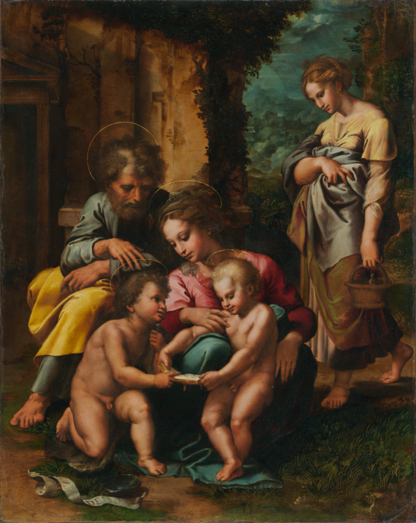 The Holy Family; Giulio Romano (Giulio Pippi) (Italian, before 1499 - 1546); Italy; about 1520–1523; Oil (possibly mixed with tempera) on panel; 77.5 × 61.9 cm (30 1/2 × 24 3/8 in.); 95.PB.64; The J. Paul Getty Museum, Los Angeles; Rights Statement: No Copyright - United States