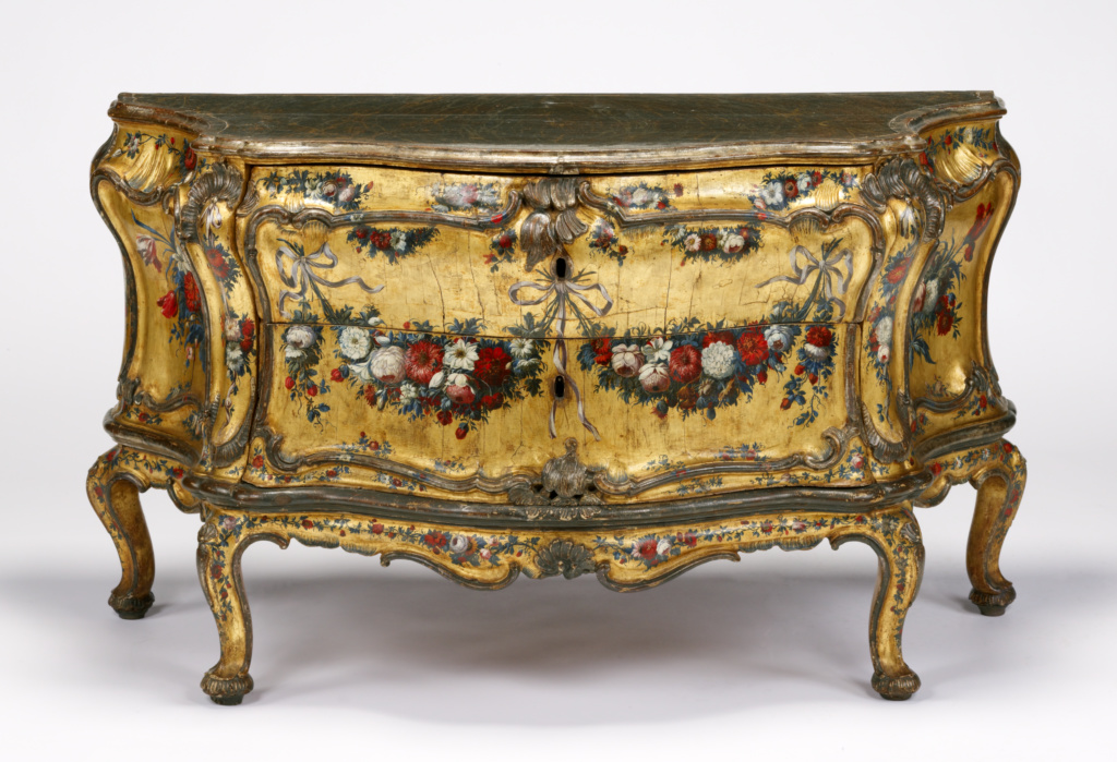 Commode; Unknown; Venice, Veneto, Italy; about 1745–1750; Painted, gilt, and silvered oak; 81.6 × 147 × 62.6 cm (32 1/8 × 57 7/8 × 24 5/8 in.); 83.DA.282; The J. Paul Getty Museum, Los Angeles; Rights Statement: No Copyright - United States