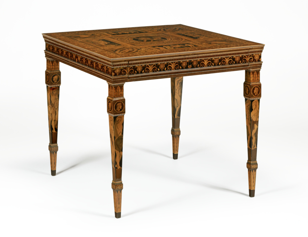 Table; Francesco Abbiati (Italian, active about 1780 - about 1800); Mandello, Lake Como, Lombardia, Italy; 1790s; Oak, walnut, and poplar veneered with purplewood, satinwood, ebony, and various fruitwoods; 77.8 × 84.5 × 87.5 cm (30 5/8 × 33 1/4 × 34 7/16 in.); 84.DA.77; The J. Paul Getty Museum, Los Angeles; Rights Statement: No Copyright - United States