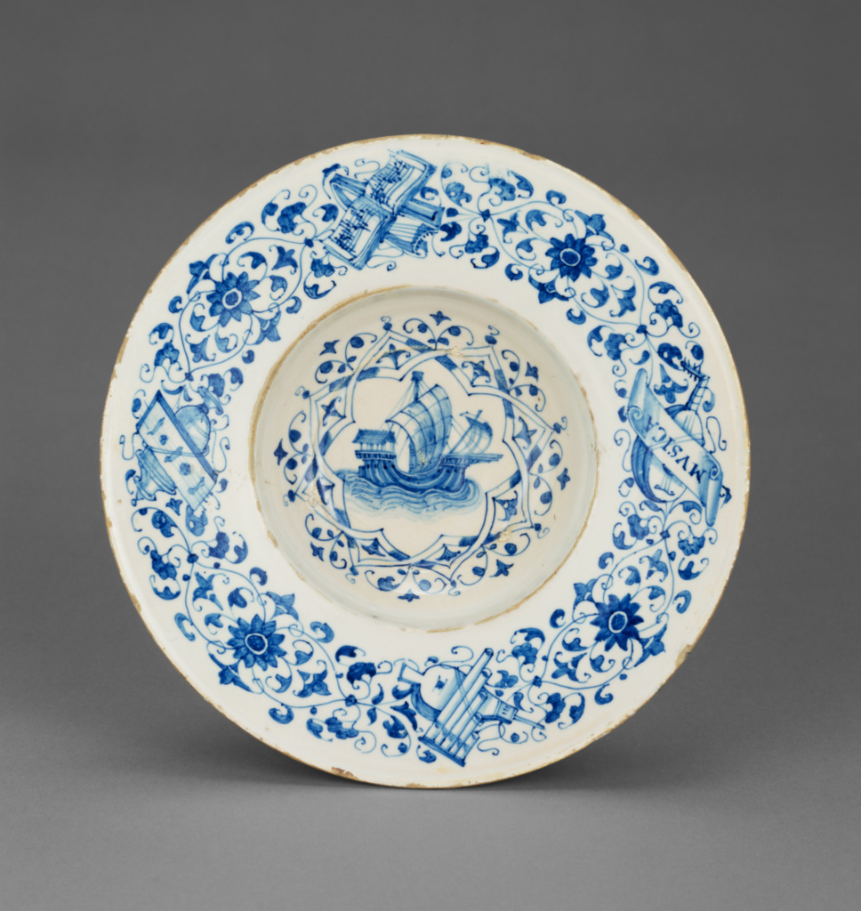 Blue and White Dish with a Merchant Ship; Unknown; about 1510; Tin-glazed earthenware; 4.8 × 24.3 cm (1 7/8 × 9 9/16 in.); 84.DE.109; Rights Statement: No Copyright - United States