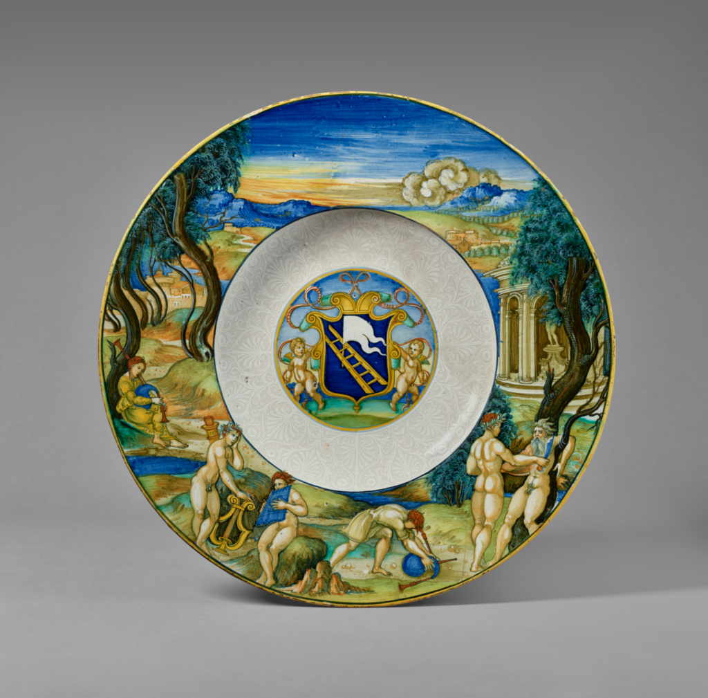Armorial Dish with the Flaying of Marsyas; Nicola di Gabriele Sbraghe (or Sbraga), known as Nicola da Urbino (Italian, about 1480 - 1537/1538); Urbino, Italy; mid-1520s; Tin-glazed earthenware; 5.7 × 41.4 cm (2 1/4 × 16 5/16 in.); 84.DE.117; The J. Paul Getty Museum, Los Angeles; Rights Statement: No Copyright - United States