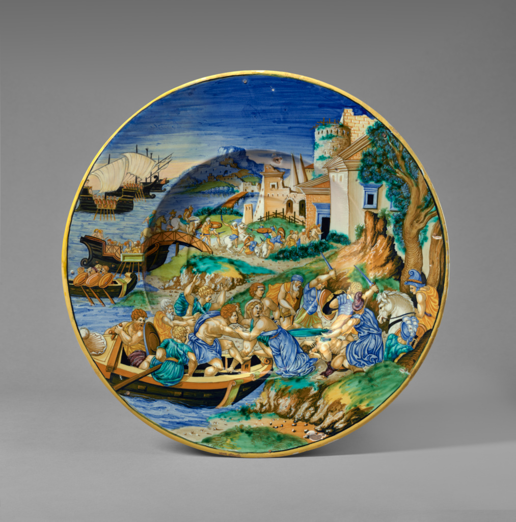Plate with the Abduction of Helen; Francesco Xanto Avelli (Italian, 1486/1487 - about 1544); 1534; Tin-glazed earthenware; 6.4 × 46 cm (2 1/2 × 18 1/8 in.); 84.DE.118; Rights Statement: No Copyright - United States
