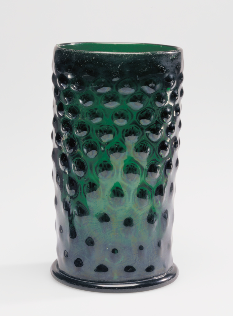 Pattern-Molded Beaker (Warzenglas); Unknown; Germany (possibly); 17th century; Mold-blown dark green glass with applied decoration; 15.1 × 8.7 cm (5 15/16 × 3 7/16 in.); 84.DK.530; The J. Paul Getty Museum, Los Angeles; Rights Statement: No Copyright - United States