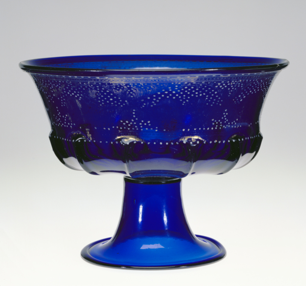Footed Bowl (Coppa); Unknown; about 1500; Free- and mold-blown cobalt-blue glass with gold leaf and enamel decoration; 17.8 × 24.1 cm (7 × 9 1/2 in.); 84.DK.535; Rights Statement: No Copyright - United States