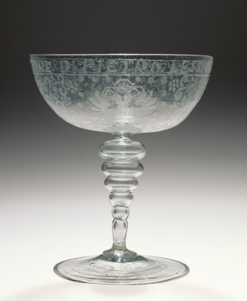 Wineglass; Unknown; Façon de Venise (or possibly), Tuscany, Italy; 1600–1650; Free-blown colorless (slightly gray) glass with diamond-point engraving; 14.9 × 13 cm (5 7/8 × 5 1/8 in.); 84.DK.541; The J. Paul Getty Museum, Los Angeles; Rights Statement: No Copyright - United States