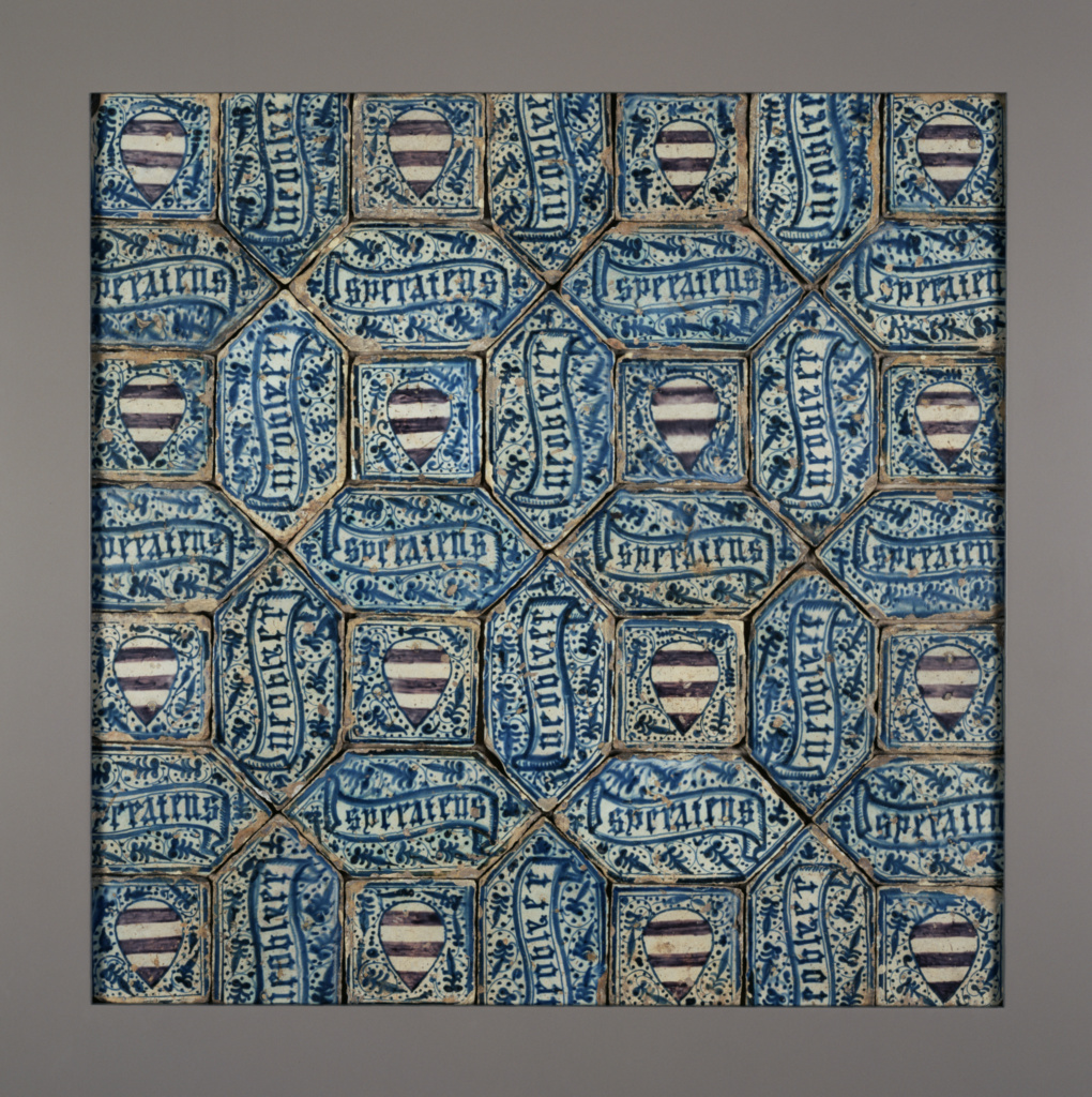 Tile Floor; Unknown; Manises (probably), Valencia region, Spain; about 1425–1450; Tin-glazed earthenware; 121.9 × 182.9 cm (48 × 72 in.); 84.DE.747; The J. Paul Getty Museum, Los Angeles; Rights Statement: No Copyright - United States