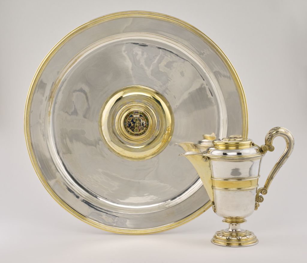Ewer and Basin; Abraham Pfleger I (German, died 1605, active from 1558); 1583; Partially gilt silver with enameled plaques and engraving; 25.1 cm (9 7/8 in.); 85.DG.33; The J. Paul Getty Museum, Los Angeles; Rights Statement: No Copyright - United States