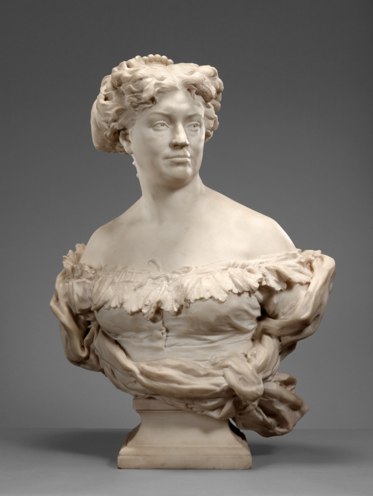 Portrait of Nadine Dumas (Madame Alexandre Dumas Fils 1827 - 1875); Jean-Baptiste Carpeaux (French, 1827 - 1875); France; 1873–1875; Marble; 80 × 56.5 × 38.1 cm, 117.9352 kg (31 1/2 × 22 1/4 × 15 in., 260 lb.); 85.SA.47; The J. Paul Getty Museum, Los Angeles; Rights Statement: No Copyright - United States