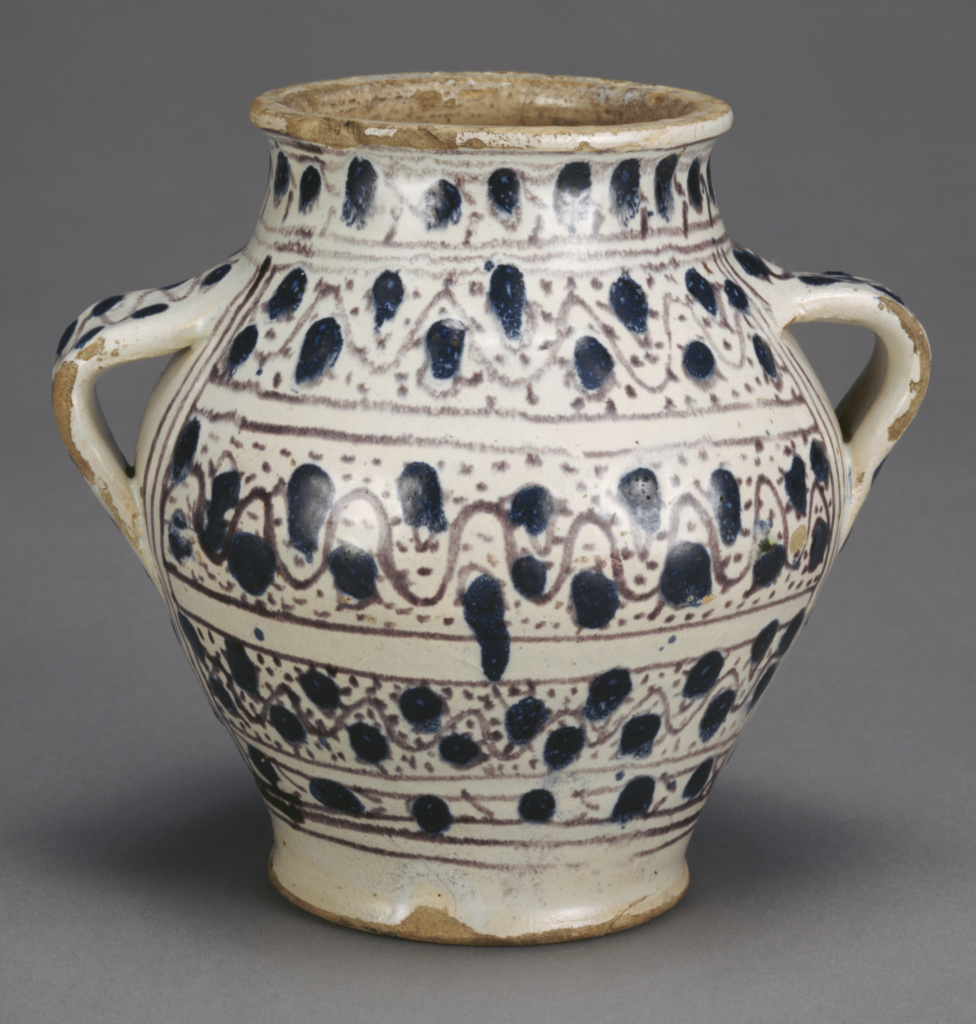 Relief-Blue Jar with Dots; Unknown; about 1430–1450; Tin-glazed earthenware; 16.5 × 10.5 × 17.8 cm (6 1/2 × 4 1/8 × 7 in.); 85.DE.58; Rights Statement: No Copyright - United States