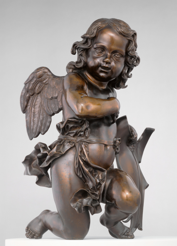 Putto Holding Shield to His Left; Ferdinando Tacca (Italian, 1619 - 1686); Florence, Tuscany, Italy; 1650–1655; Bronze; 65.1 × 53.3 × 46.7 cm (25 5/8 × 21 × 18 3/8 in.); 85.SB.70.1; The J. Paul Getty Museum, Los Angeles; Rights Statement: No Copyright - United States