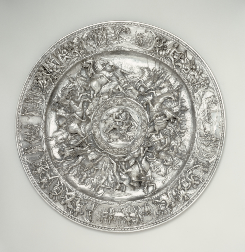 Basin with Scenes from the Life of Cleopatra; After a sketch by Bernardo Strozzi (Italian, 1581 - 1644), Perhaps modeled by Francesco Fanelli (Italian, about 1590 - after 1653), Probably executed by an Unknown maker, Dutch or Flemish silversmith; Genoa, Liguria, Italy; about 1620–1625; Silver; 75.6 cm (29 3/4 in.); 85.DG.81; The J. Paul Getty Museum, Los Angeles; Rights Statement: No Copyright - United States