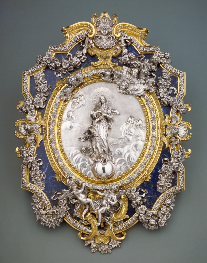 Plaque Representing the Virgin of the Immaculate Conception; Francesco Natale Juvara (Italian, 1673 - 1759); Messina, Sicily, Italy; 1730–1740; Silver; gilt bronze; lapis lazuli; 69.7 × 52.1 cm (27 7/16 × 20 1/2 in.); 85.SE.127; The J. Paul Getty Museum, Los Angeles; Rights Statement: No Copyright - United States