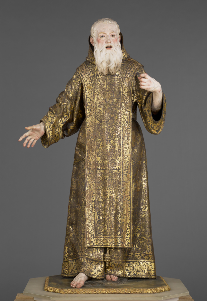 "Saint Ginés de la Jara; Luisa Roldán (called ""La Roldana"") (Spanish, 1652 - 1706), Polychromer: Tomás de Los Arcos (Spanish, born 1661); Spain; about 1692; Polychromed wood (pine and cedar) with glass eyes; 175.9 × 91.9 × 74 cm (69 1/4 × 36 3/16 × 29 1/8 in.); 85.SD.161; The J. Paul Getty Museum, Los Angeles; Rights Statement: No Copyright - United States"