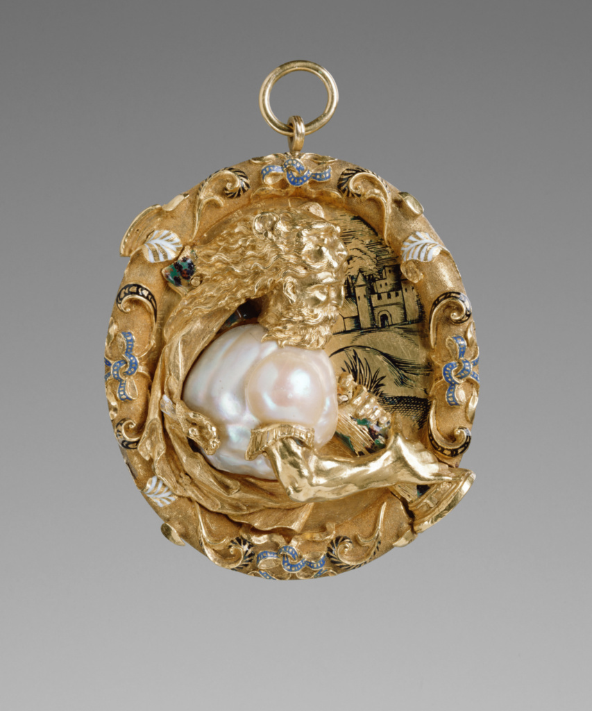 Hercules Pendant; Unknown maker, French; Paris, France; about 1540; Gold, enamel (white, blue and black), and a baroque pearl; 6 × 5.4 cm (2 3/8 × 2 1/8 in.); 85.SE.237; The J. Paul Getty Museum, Los Angeles; Rights Statement: No Copyright - United States