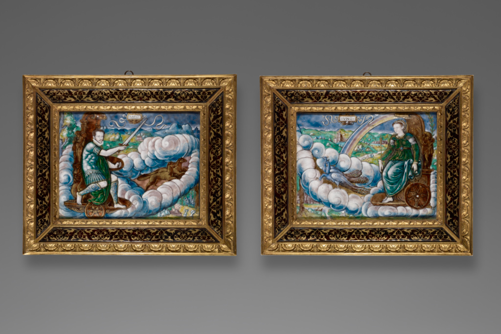 Allegory of Charles IX as Mars and Allegory of Catherine de 'Medici as Juno; Léonard Limosin (French, about 1505 - 1575/1577); 1573; Polychrome enamel with painted gold highlights on copper and silver; 16.8 × 22.9 cm (6 5/8 × 9 in.); 86.SE.536; The J. Paul Getty Museum, Los Angeles; Rights Statement: No Copyright - United States