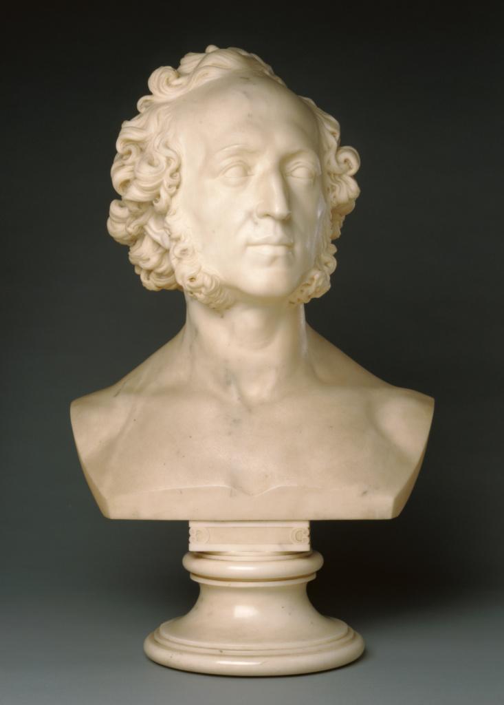 Bust of Felix Mendelssohn (1809 - 1847); Ernst Friedrich August Rietschel (German, 1804 - 1861); 1848; Marble; 59.7 × 39.4 × 25.4 cm (23 1/2 × 15 1/2 × 10 in.); 86.SA.543; Rights Statement: No Copyright - United States