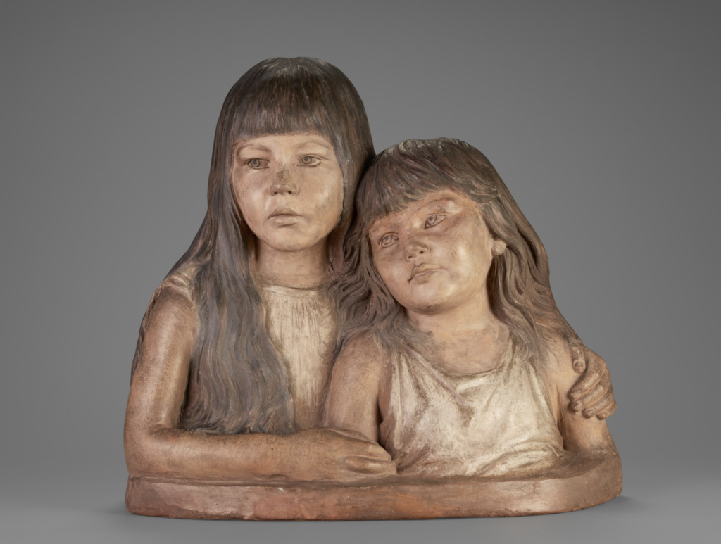 Double Portrait of the Artist's Daughters; Adolf von Hildebrand (German, 1847 - 1921); Germany; 1889; Polychrome terracotta; 50 × 52.8 × 19 cm (19 11/16 × 20 13/16 × 7 1/2 in.); 86.SC.729; The J. Paul Getty Museum, Los Angeles; Rights Statement: No Copyright - United States