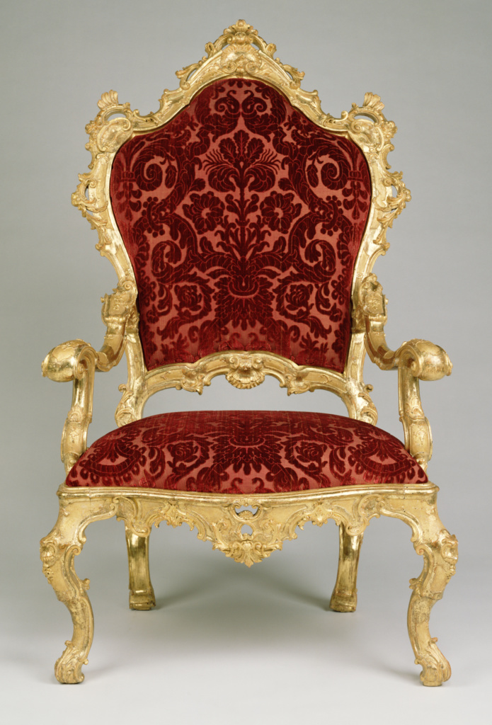 Four Armchairs; Unknown; about 1730–1740; Carved, gessoed, and gilt walnut; upholstered in modern Genoese velvet; 140.3 × 85.1 × 88.3 cm (55 1/4 × 33 1/2 × 34 3/4 in.); 87.DA.2; Rights Statement: No Copyright - United States