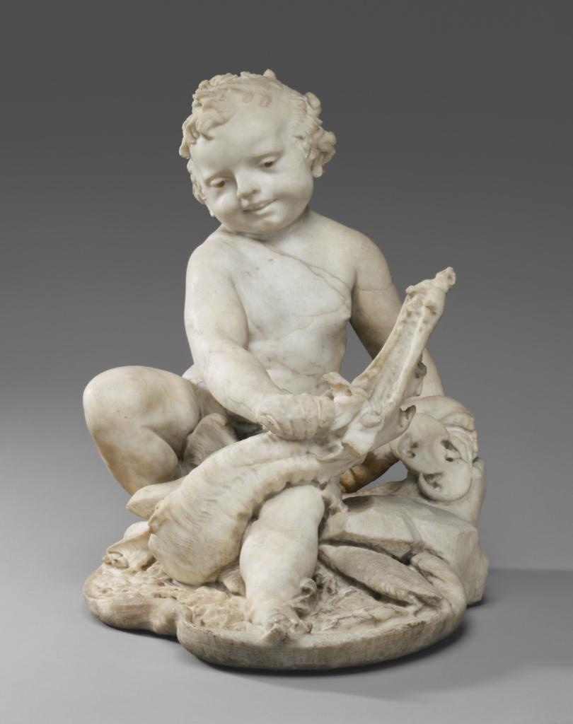 Boy with a Dragon; Pietro Bernini (Italian, 1562 - 1629), and Gian Lorenzo Bernini (Italian, 1598 - 1680); about 1617; Marble; 55.9 × 52 × 41.5 cm, 19.2325 kg (22 × 20 1/2 × 16 5/16 in., 42.4 lb.); 87.SA.42; Rights Statement: No Copyright - United States