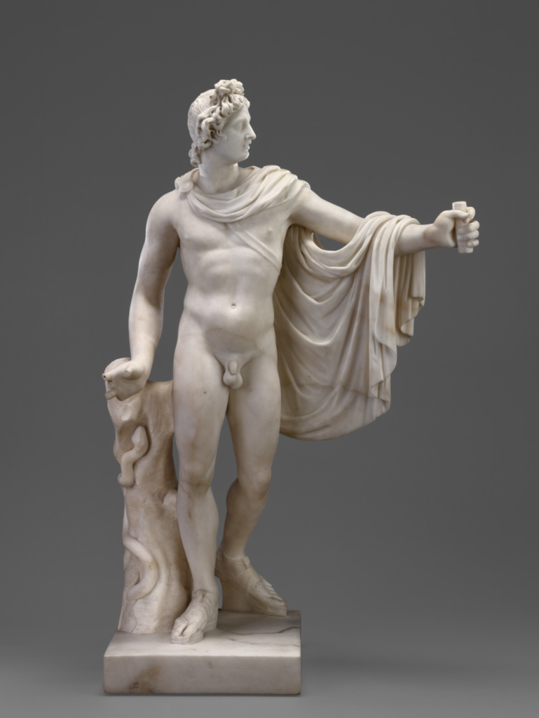 Apollo (after the antique); Workshop of Joseph Wilton (English, 1722 - 1803); England; 1762; Marble; 75.6 cm (29 3/4 in.); 87.SA.113; The J. Paul Getty Museum, Los Angeles; Rights Statement: No Copyright - United States