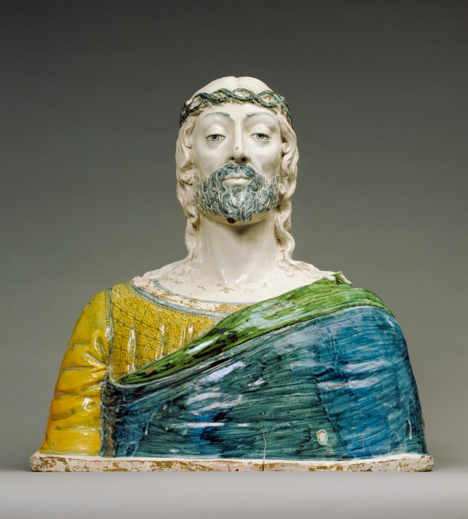 Bust of Christ; Unknown; Montelupo, Italy; about 1500; Tin-glazed earthenware; 60.3 × 59.7 × 26 cm (23 3/4 × 23 1/2 × 10 1/4 in.); 87.SE.148; The J. Paul Getty Museum, Los Angeles; Rights Statement: No Copyright - United States